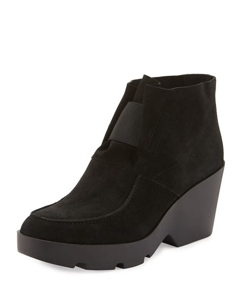 eileen fisher boots eileen fisher wedge desert boots in black lyst