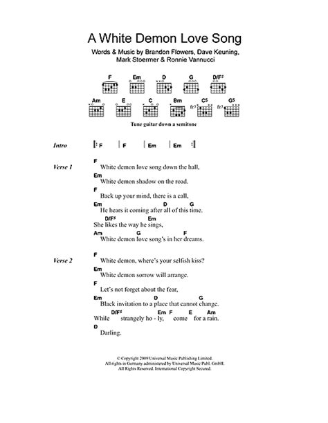 printable demons lyrics a white demon love song sheet music by the killers lyrics