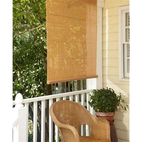 Patio Blinds Prices 96 In W X 72 In L Tan Woodgrain Interior Exterior Roll