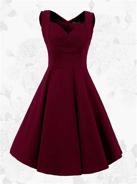 Syifa Basic Dress 15 1950s burgundy vintage square neck a line solid dress get it within 3 days lige min stil