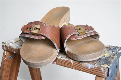 dr scholls wood sandals vintage dr scholl s sandals wooden sole brown leather