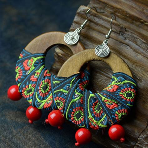 Handmade Wooden Earrings - handmade big wooden earrings wraped with vintage ethnic