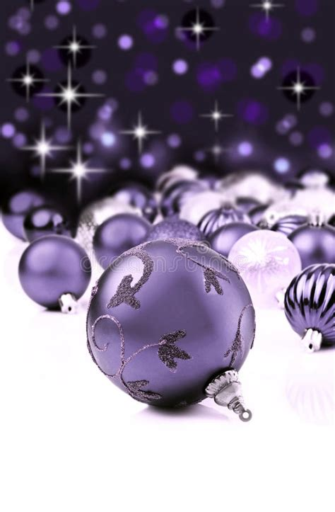 purple decorative christmas ornaments stock image image