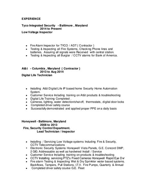 Low Voltage Technician Sle Resume by Low Voltage Resume