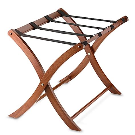 solid wood luggage rack in walnut www bedbathandbeyond