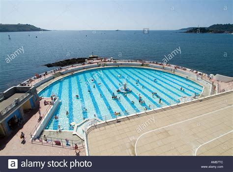 swimming plymouth tinside swimming pool plymouth uk stock photo royalty