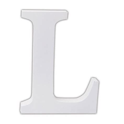 White Wood L classic white wooden alphabet letters