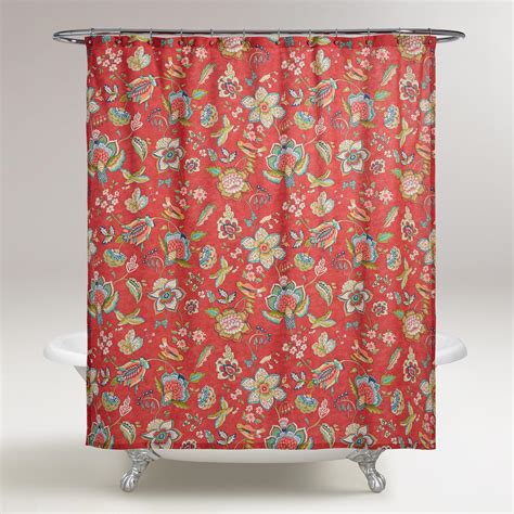 shower curtain coral coral floral natasha shower curtain world market