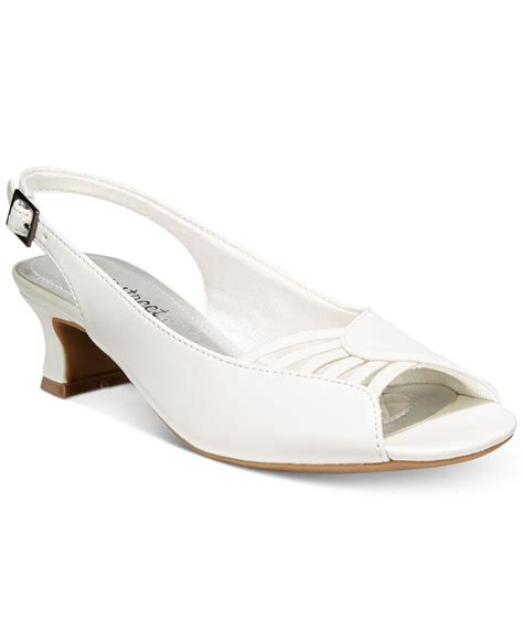 Ps High Heels Open Toe Slingback Moka lyst easy bliss slingback peep toe pumps in white