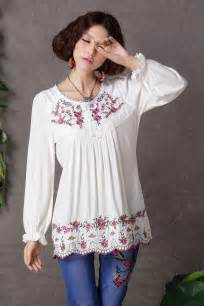 Boho ethnic floral embroidered hippie t shirt women clothing s jpg