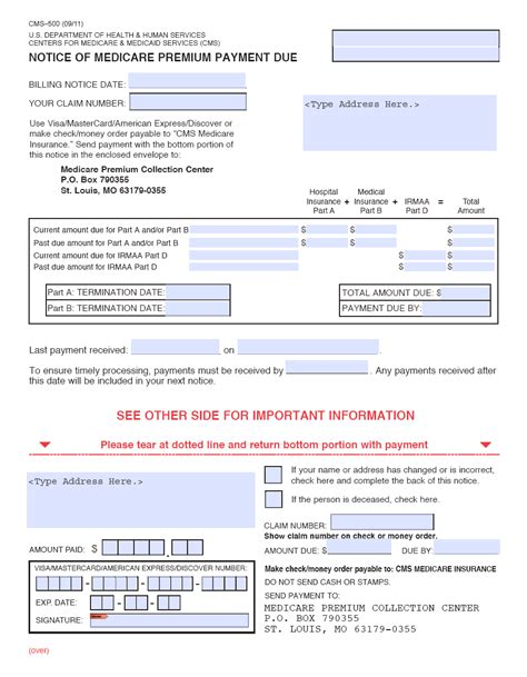 medicare receipt template ssa poms gn 02403 030 processing medicare premium