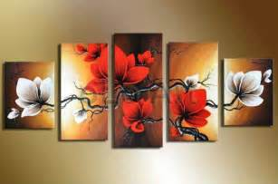 Black Art Home Decor by Handpainted Wall Art Modern Abstract White Red Flower