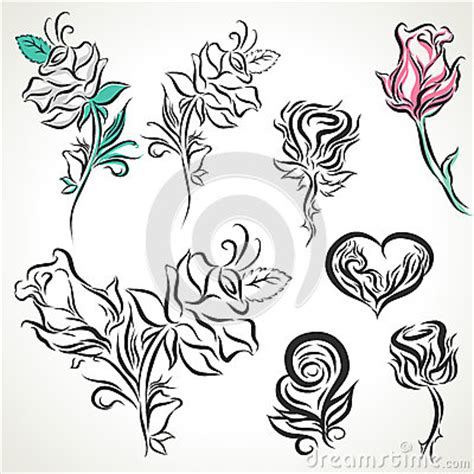 rose of tribal tattoo set stock vector image 51014220