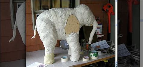 Make Paper Elephant - how to make a paper mache baby elephant 171 sculpture