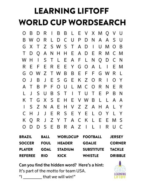 World Wide Search Printable World Cup Word Search World Cup Activities And The