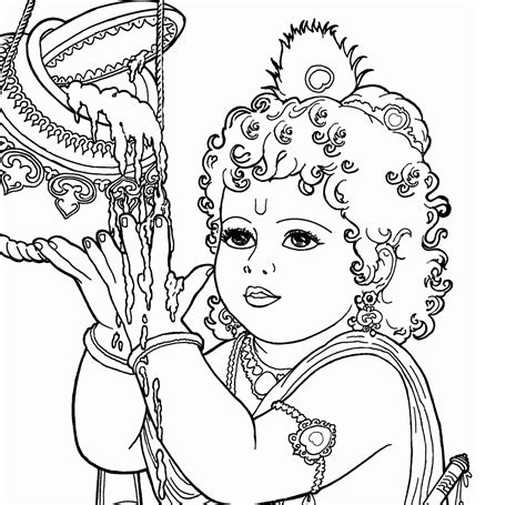 coloring pages of baby krishna radha krishna black and white clipart 39