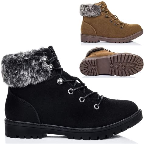 womens lace up cleated sole shearling flat walking hiking