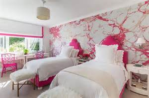 girls bedroom wallpaper silver and pink girls bedroom with hot pink headboards