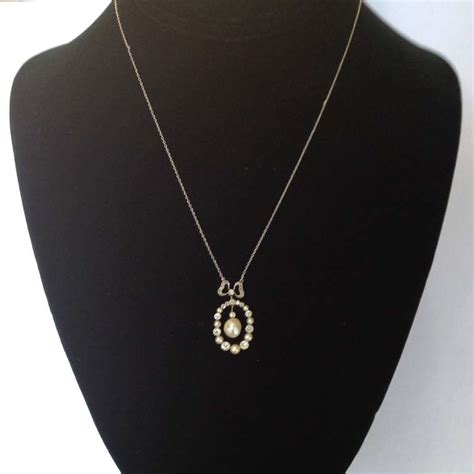 edwardian delicate and pearl pendant