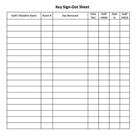 key sign out form template 12 sign out sheet templates free sles exles