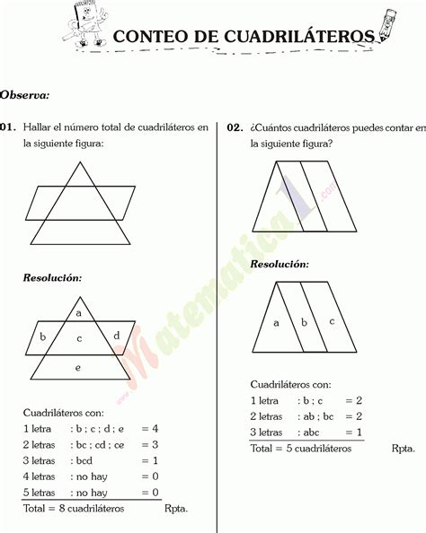 conteo de figuras matematicas ejercicios resueltos conteo de cuadrilateros y sectores circulares ejercicios