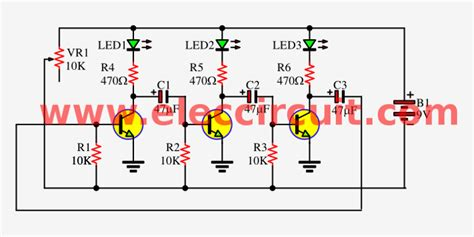 transistor led circuit 3 led flasher circuit by 3 transistors astable multivibrator