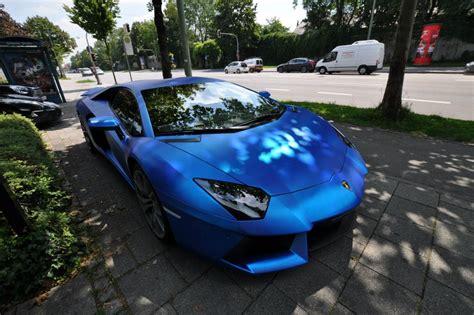 Lamborghini Aventador In Blue Lamborghini Aventador Wrapped In Blue Chrome Brushed
