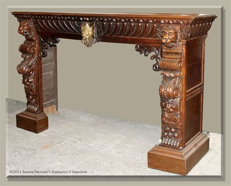 antique french renaissance carved fireplace mantel