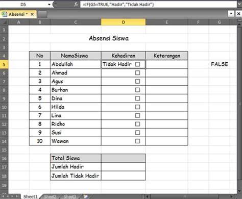 cara membuat format absensi karyawan cara memanfaatkan fungsi check box excel untuk membuat
