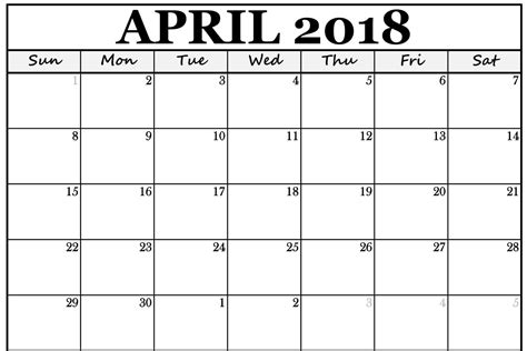 April 2018 Calendar Template Printable Calendar Template