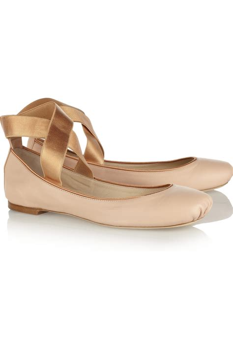 ballet flats shoes chlo 233 leather ballet flats in pink neutrals lyst