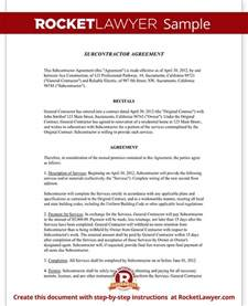 Contract For Subcontractors Template by Subcontractor Agreement Contract Form Rocket Lawyer