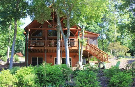 lakefront log home with homeaway awesome lakefront log cabin with covered dock vrbo
