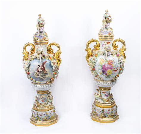 Vase Styles by Pair 5ft Delightful Dresden Style Porcelain Vases