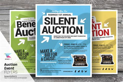 Auction Event Flyer Templates Flyer Templates On Creative Market Flyer Templates
