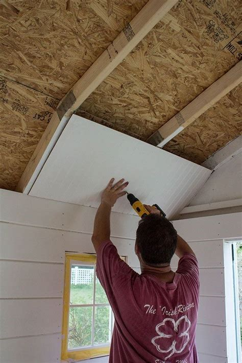 shed plans paneling  shed ceiling    build