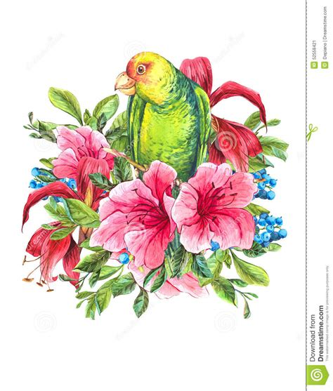 Asos10524 Floral Bird Tropical Blue White S M Import Chiffon Dress vintage card with tropical flowers parrots stock illustration image 52558421