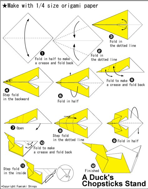 How To Make A Paper Duck Step By Step - origami duck s chopsticks stand easy origami