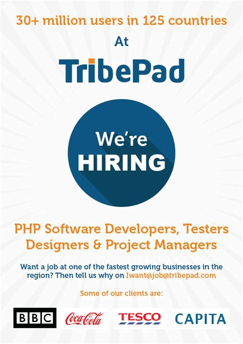 poster design jobs uk hiring poster for tribepad smilyan pavlov