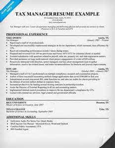 Tax Manager Sle Resume tax manager resume resume sles across all industries