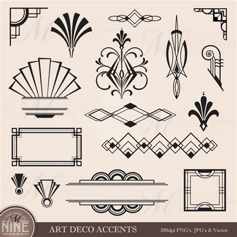 design elements in writing digital clipart art deco design elements frames by