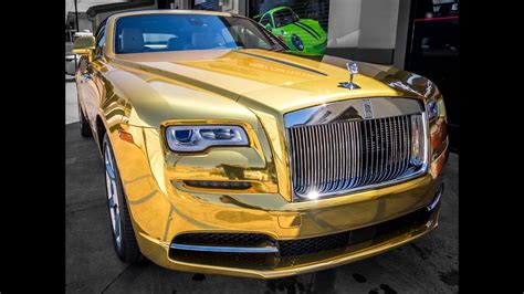 rolls royce gold interior how to wrap a rolls royce in gold chrome vinyl