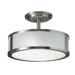 Flush Mount Kitchen Lighting Fixtures Allen Roth 13 In Brushed Nickel Frosted Glass Semi Flush Mount Light Lowe S Canada