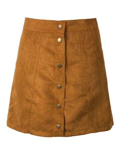 Button Front A Line Skirt khaki suedettte button front plain a line skirt choies