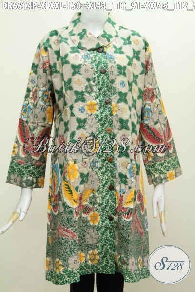 Baju Batik Warna Hijau baju batik dress jumbo warna hijau motif mewah printing