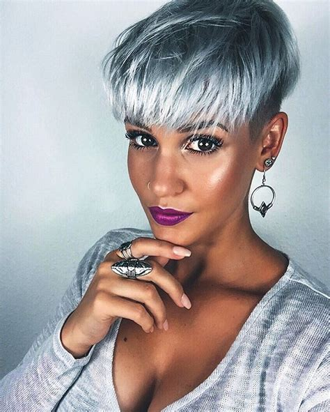 edgy gray hairstyles pixie schnitt granny hair pinterest short gray
