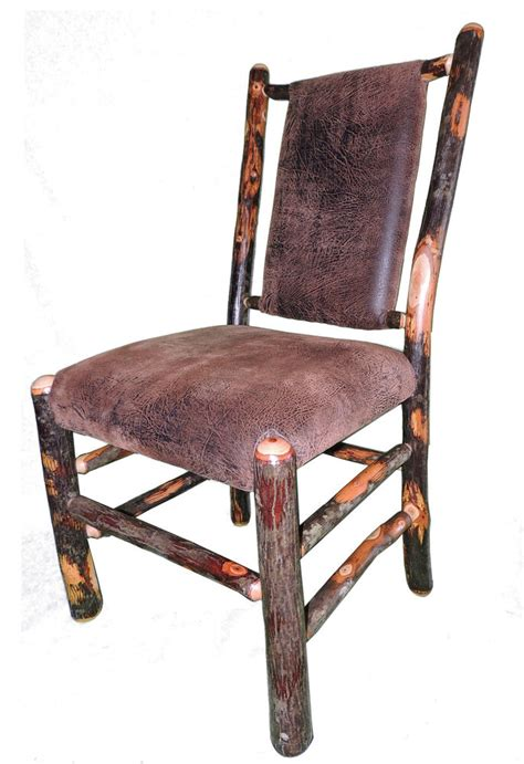 rustic leather dining chairs rustic hickory upholstered seat and back dining chair