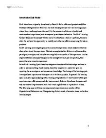 Learning Experience Essay by My Learning Experience The Kolb Model Was Originally Formulated By David A Kolb The Kolb Model