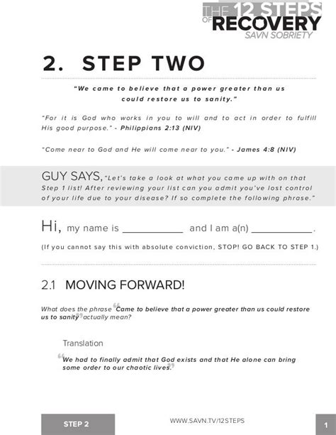 step work worksheets for aa the 12 steps of recovery savn
