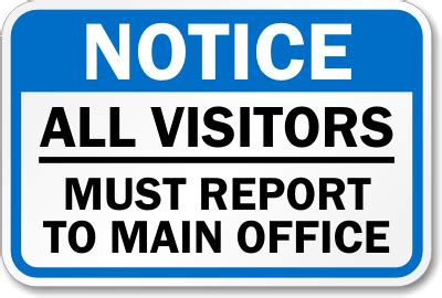 Office Sign In Visitors Must Report Office Signs Durable Visitor Sign